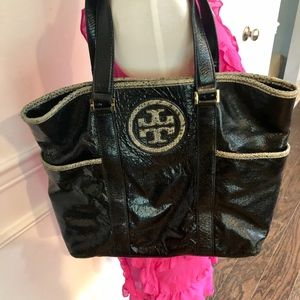 TORY BURCH Black Patent Leather Snakeskin Tote